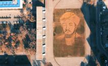Портрет Аль-Фараби из листьев сделали студенты КазНУ