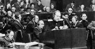 Нюрнбергский процесс. Выступает главный обвинитель от СССР Роман Руденко, архивное фото