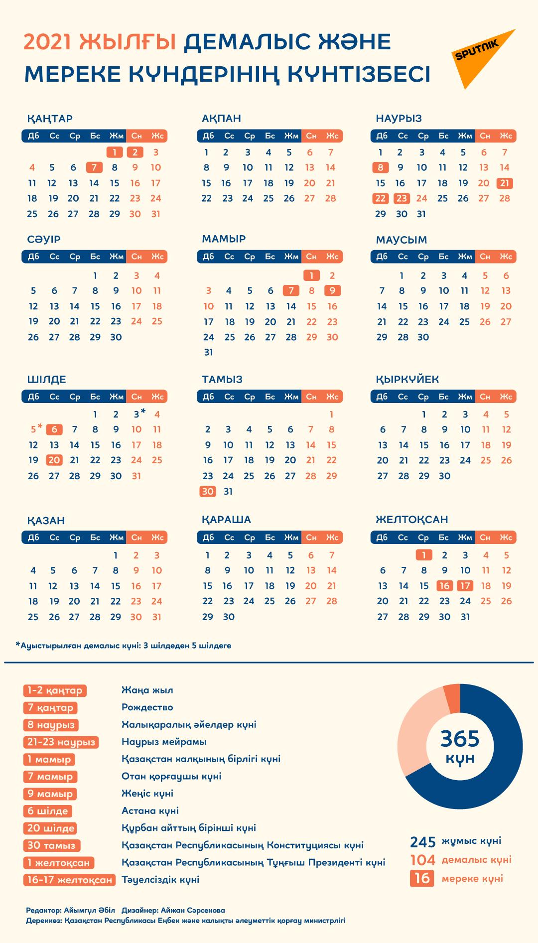 2021 жылғы демалыс және мереке күндерінің күнтізбесі