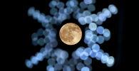 Луна в свете новогодних украшений на улице