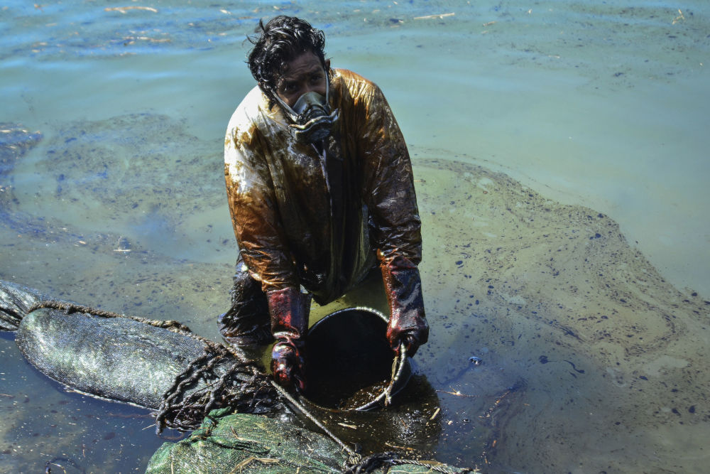 Маврикий жағалауын төгілген мұнайдан тазартып жатқан адам