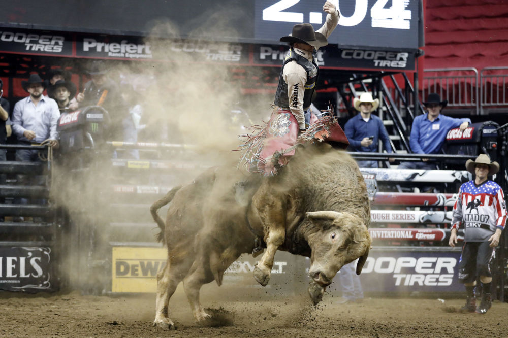 Канзас-Ситидегі Professional Bull Riders өгіздерді ерттеп мінген кәсіби шабандоздардың родеосы.