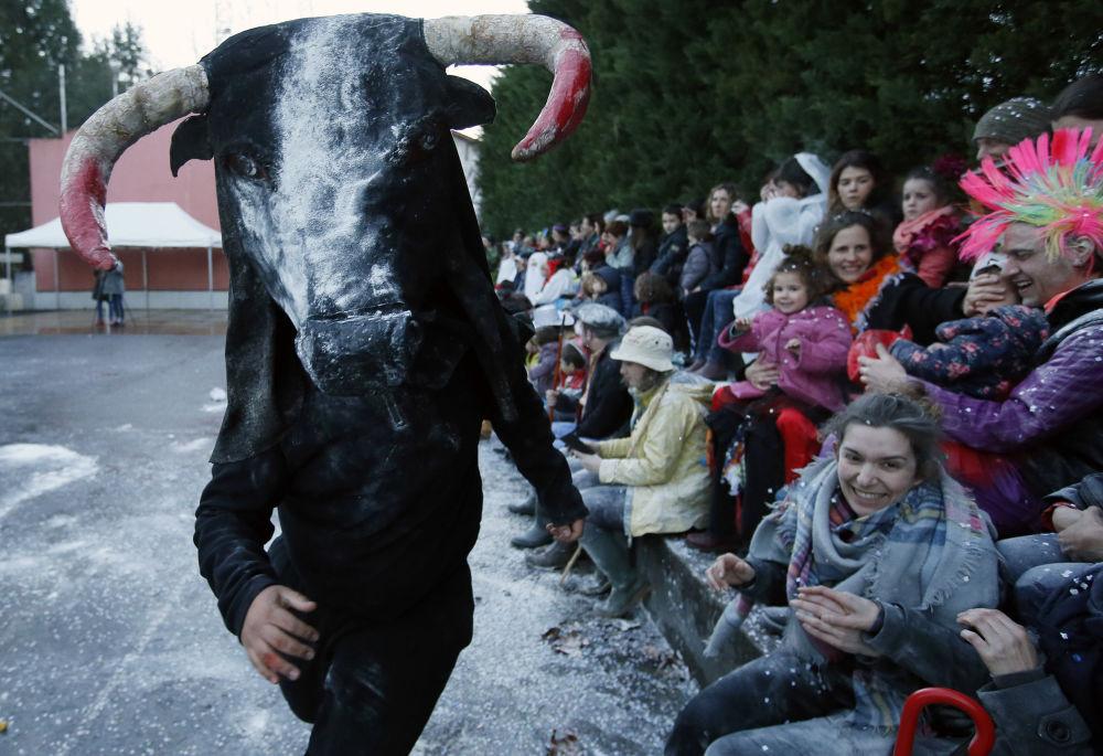 Өгіз костюмін киген карнавал қатысушысы