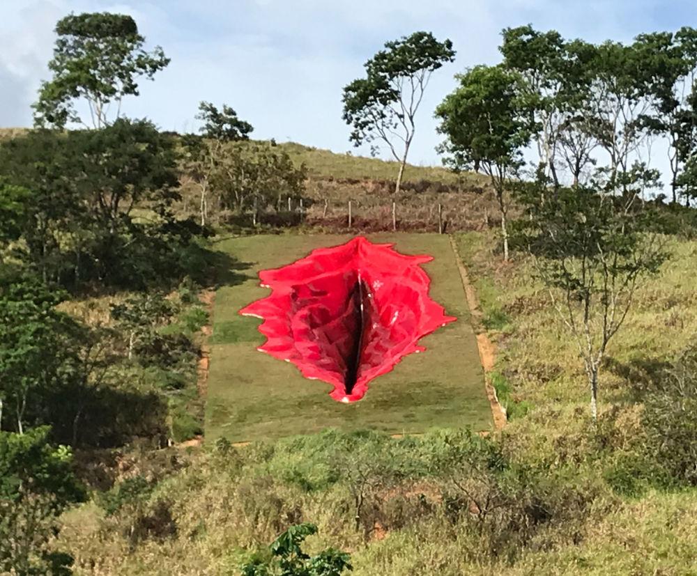 Гигантское произведение искусства Дива, напоминающее вульву длиной 33 метра, шириной 16 метров и глубиной 6 метров, в музее под открытым небом Usina de Arte в бразильском штате Пернамбуку