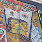 Бұрынғы полиграфиялық комбинаттың ғимаратындағы Баспа мозаикалық панносы.