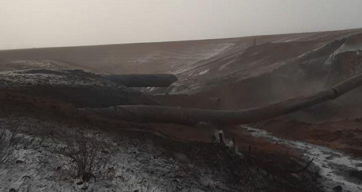 Последствия порыва на газопроводе Союз в Оренбургской области
