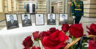 Церемония отдания воинских почестей погибшим военнослужащим Авиационной службы КНБ Казахстана