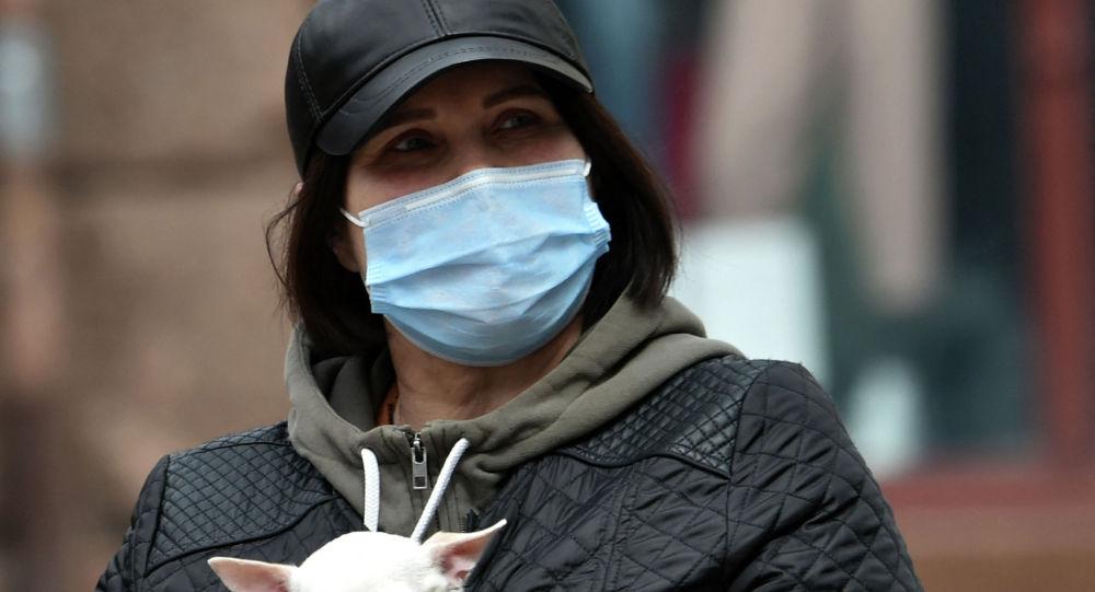 Женщина в маске прогуливается по улице с собачкой за пазухой