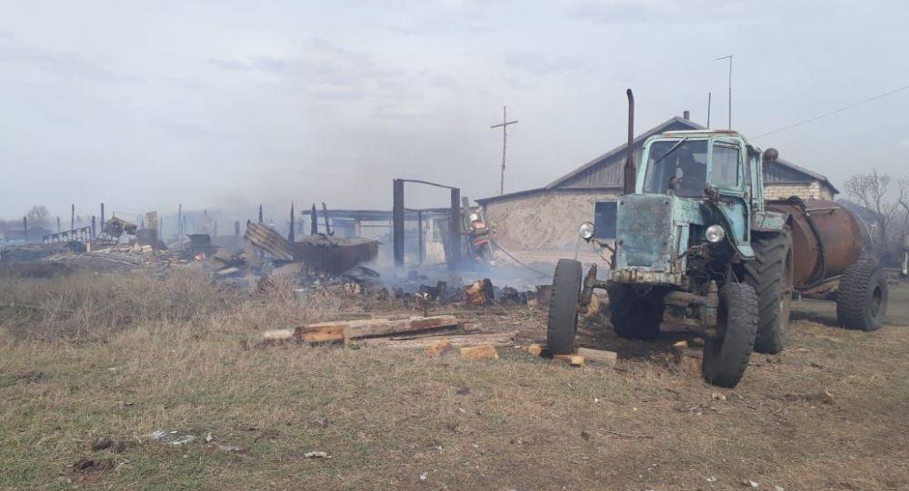 Пожар в селе СКО