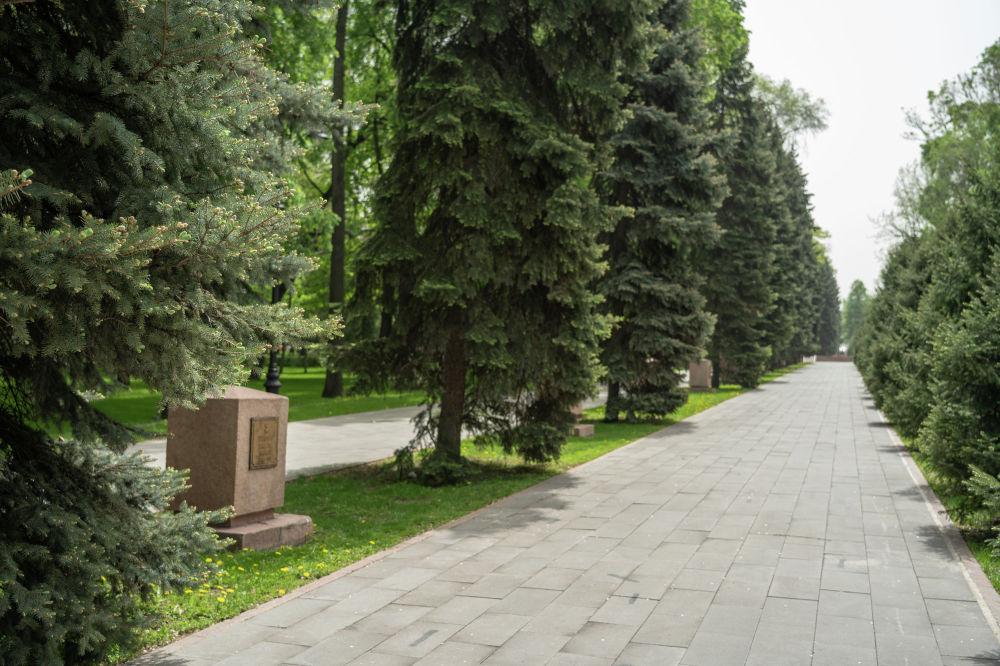 Аллея героев-панфиловцев пересекает парк от улицы Казыбек би до улицы Гоголя