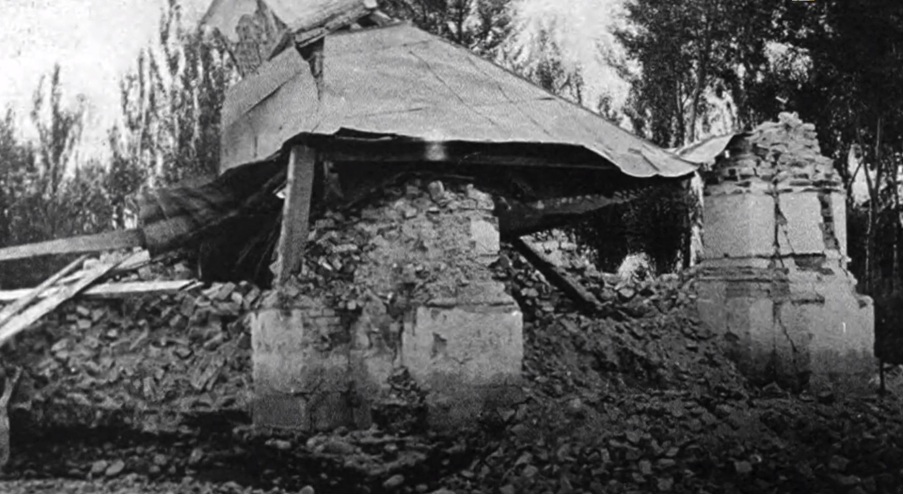 Разрушенное здание в Верном