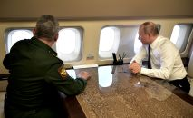 Владимир Путин на борту президентского самолета