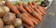 Овощи на рынке. Морковь