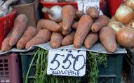 Овощи на рынке. морковь с ценником в 550 тенге за килограмм