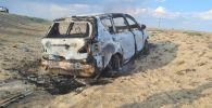 Сгоревшая Тойота Ипсум, в котором погибла женщина