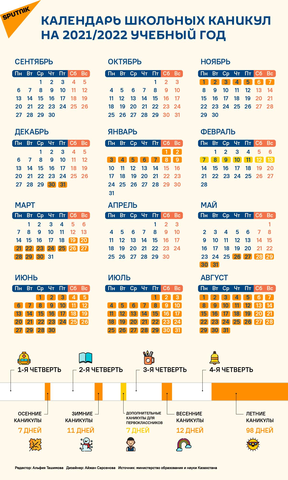 Календарь школьных каникул на 2021-2022 учебный год