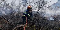 Лесной пожар возле к северу от Афин, Греция