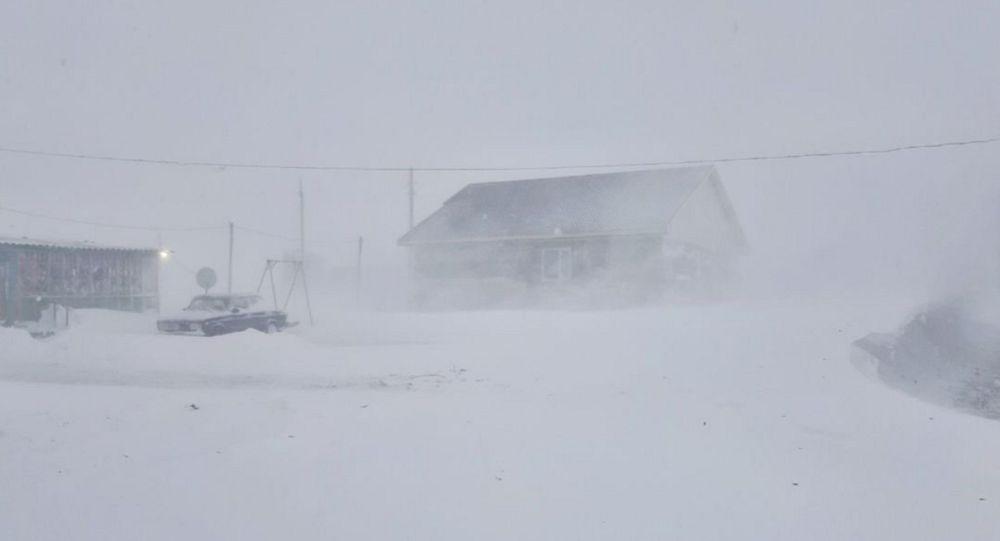 Октябрьский буран в селе Каражар Восточно-Казахстанской области