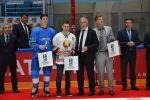 Слева направо: лучший защитник - Даррен Диц (сборная Казахстана), лучший нападающий - Джефф Плэтт (сборная Беларуси), лучший вратарь - Мэтт Далтон (сборная Кореи)