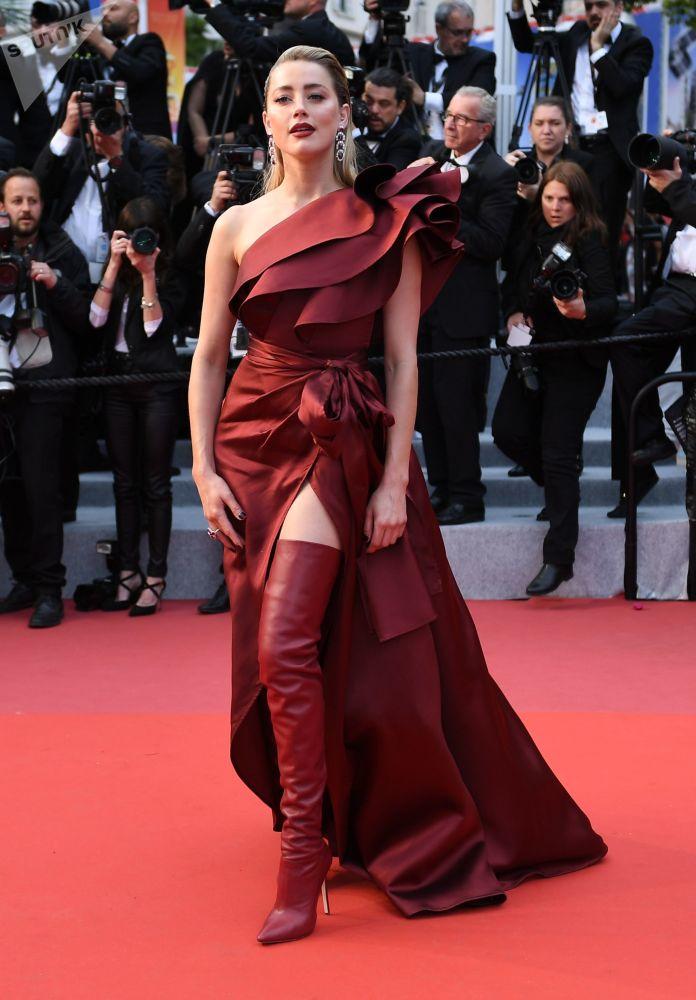 Американская актриса и продюсер Эмбер Хёрд на красной дорожке в рамках 72-го Каннского международного кинофестиваля