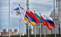 Флаги стран-участниц у Дворца Независимости перед началом юбилейного саммита ЕАЭС