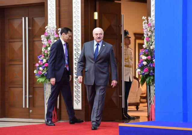 Президент Беларуси Александр Лукашенко перед заседанием ВЕЭС во Дворце Независимости