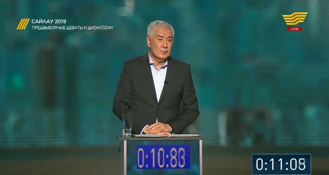 Кандидат в президенты РК Амиржан Косанов. Кадр из телетрансляции дебатов