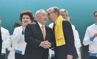 Елбасы Нурсултан Назарбаев и президент РК Касым-Жомарт Токаев на форуме партии Nur Otan
