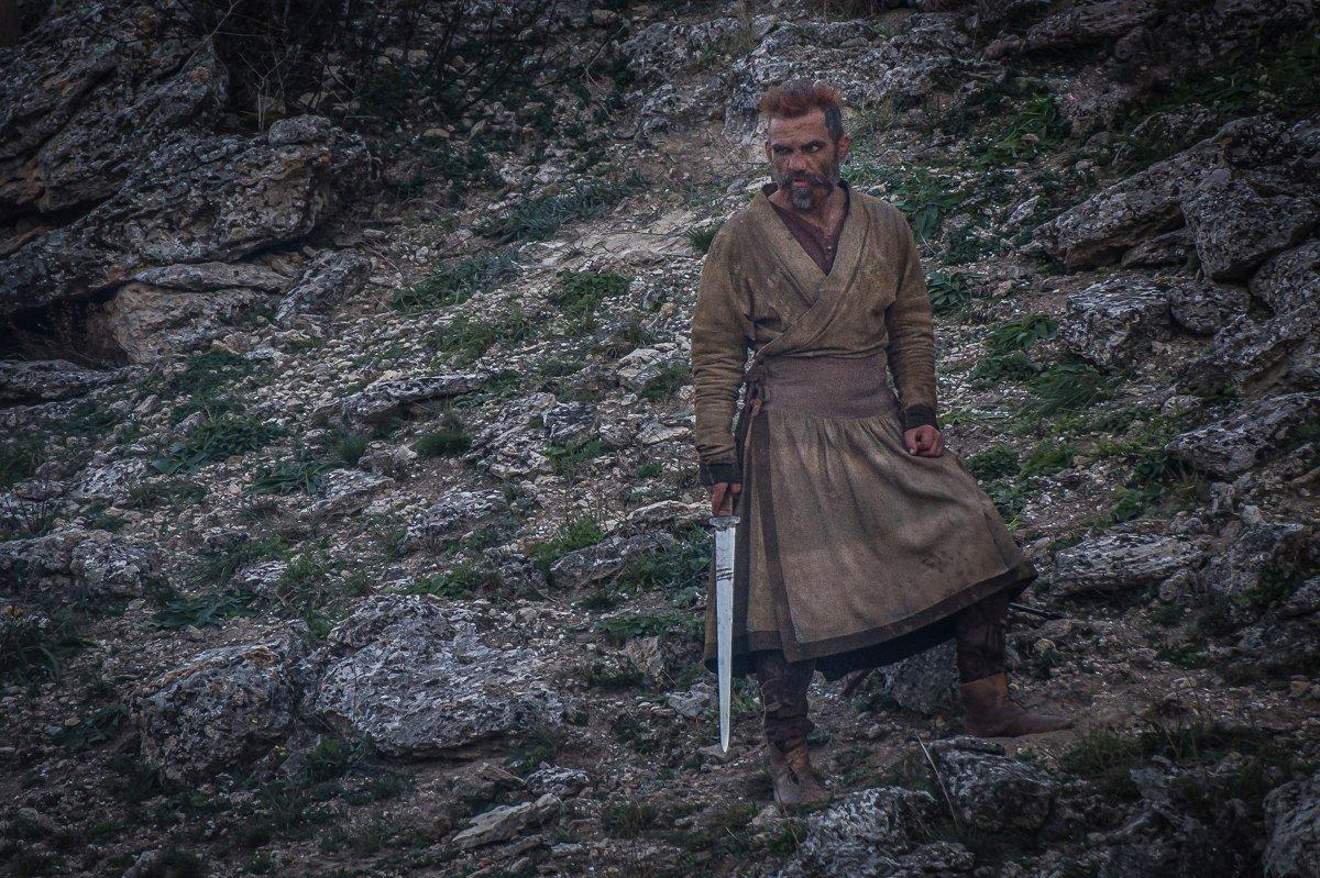 Вячеслав Али Баба Юровских на съемках фильма Скиф