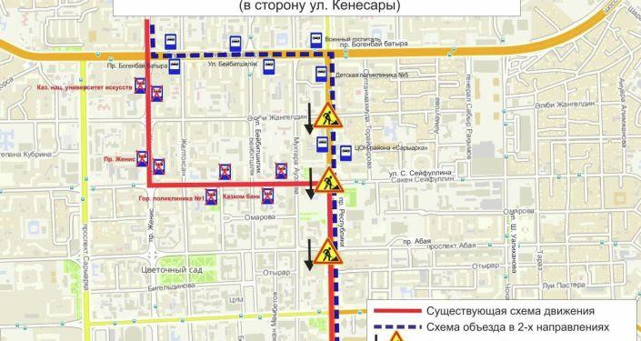 Схема объезда маршрутов № 20. Дорожные работы по пр. Республики (перекрестки) (в сторону ул. Кенесары)
