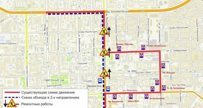 Схема объезда маршрутов №2. Дорожные работы по пр. Республики (перекрестки) (в сторону пр. Богенбай батыра)