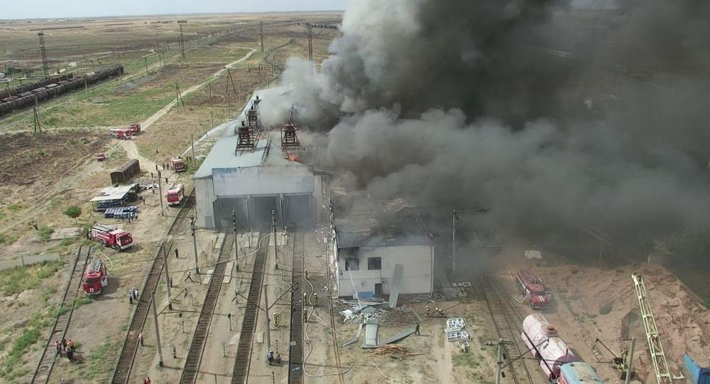 Пожар на территории ремонтно-эксплуатационного депо в Арыси