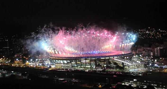 СПУТНИК_Праздничный салют в честь закрытия Олимпийских игр в Рио-де-Жанейро