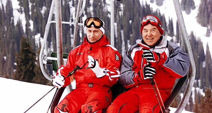 Владимир Путин мен Нұрсұлтан Назарбаев Шымбұлақ тау шаңғысы демалыс орнында