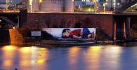 Граффити с изображением погибшего сирийского мальчика Айлана Курди в Франкфурте
