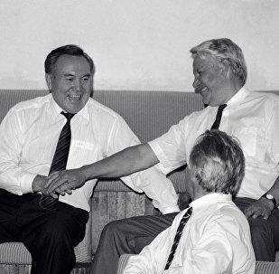 РФ президенті Борис Ельцин мен Қазақстан президенті Нұрсұлтан Назарбаев