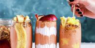 Смузи из банана, яблок и творожный с добавлением какао