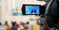 Касым-Жомарт Токаев на пресс-конференции в Акорде  после оглашения предварительных итогов выборов президента, архивное фото