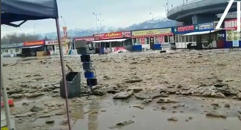 Видео потопа наалматинском рынке