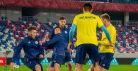 Игроки сборной Казахстана по футболу во время тренировки