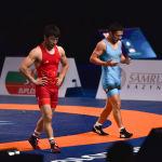 За бронзу в весовой категории до 63 килограммов казахстанец Алмат Кебиспаев вышел против кыргызстанца Тунара Шаршенбекова