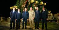 Қазақстан премьері Асқар Мамин мен Роскосмос басшысы Дмитрий Рогозин Байқоңырға келді