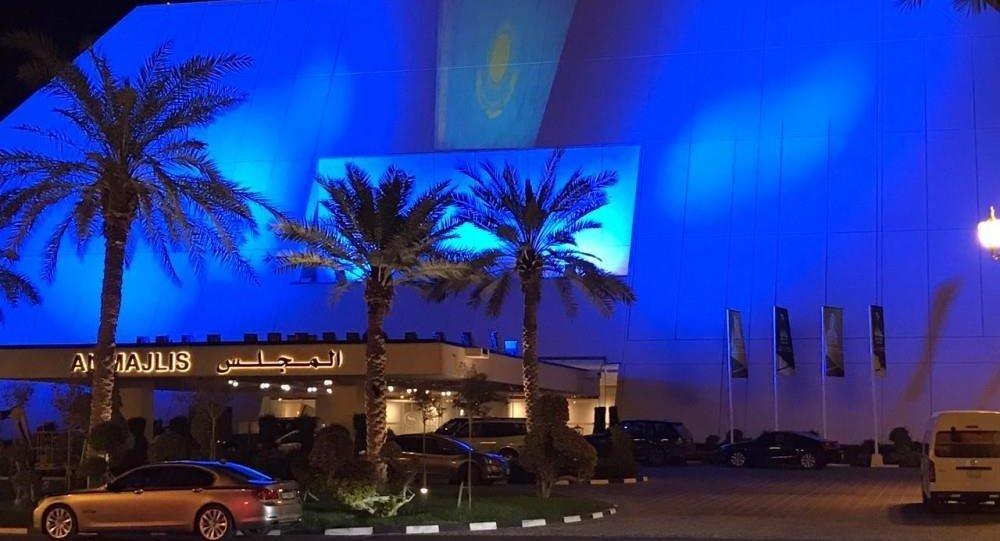 Sheraton Doha және Convention Center Sheraton Doha қонақ үйлері Қазақстан Республикасы мемлекеттік туының түстерімен жарықтандырылды