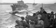 Великая Отечественная война 1941-1945 годов. Корабли Северного флота с десантом в пути к Петсамо