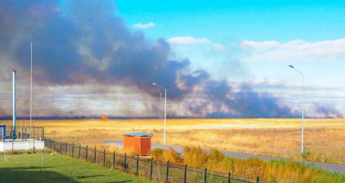 Пожар в Есильском районе столицы возле Коргалжынского шоссе