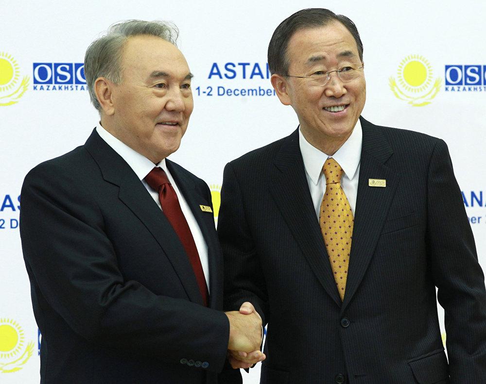 Нурсултан Назарбаев и генсек ООН Пан Ги Мун на саммите ОБСЕ в Астане в 2010 году