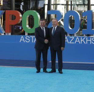 Өзбекстан президенті Шавкат Мирзиеев пен Елбасы Нұрсұлтан Назарбаев, архивтегі сурет