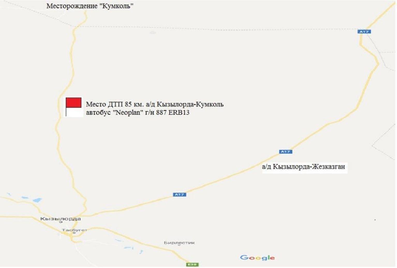 Карта с указанием места, в котором произошло опрокидывание автобуса