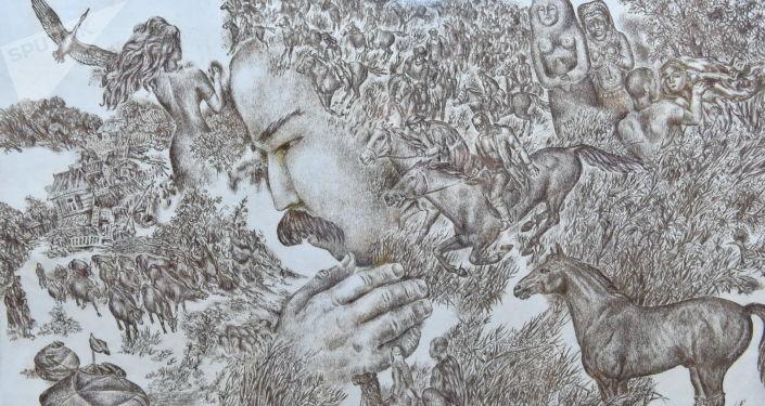 Открытие выставки Родительница степь… известного павлодарского художника-графика, заслуженного деятеля Республики Казахстан, автора большой серии офортов К поэзии Павла Васильева Виктора Поликарпова