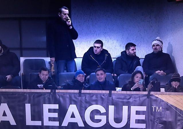 Руководители клуба и ППСК Астана на матче с Партизаном